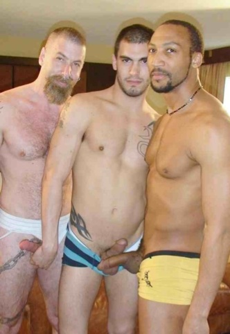 Jake, Sage, and Buster with their cocks hanging out