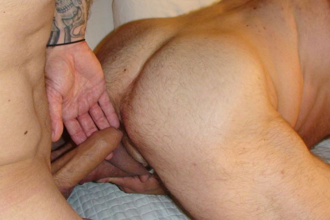 Greg guides Kasey's uncut cock into Peter's lubed up hole