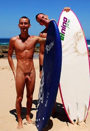 Two Australian surfers - one naked with a nice uncut cock