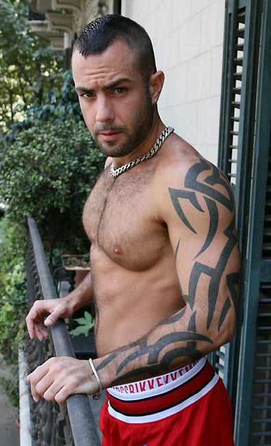 Hot furry muscle man with ink