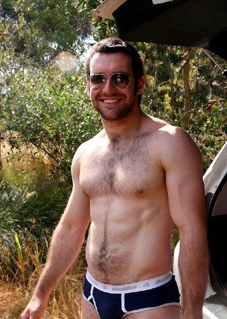 Furry muscleboy in his underwear outside