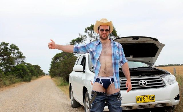 Cute furry guy hitchhiking in his underwear
