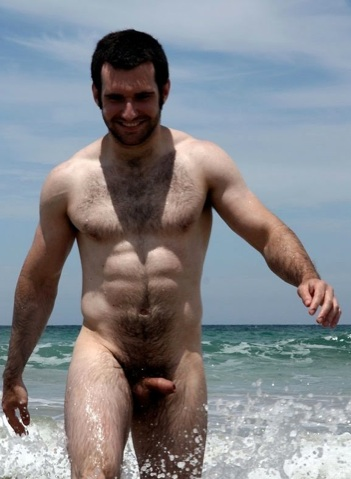 Hot young furry cub with an uncut cock at the beach