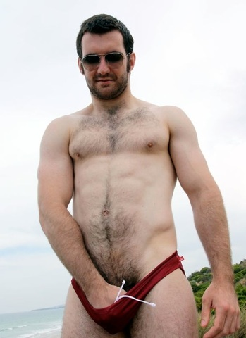 Josh plays with his bulge in a speedo