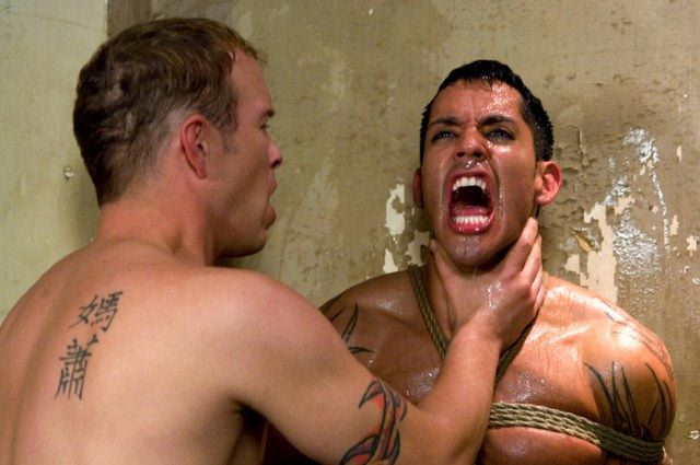 Hot young Latino stud Ash Brooks endures choking at the hands of agressor Rod Barry