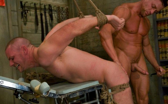 Park Wiley getting his ass inspected while tied up with rope