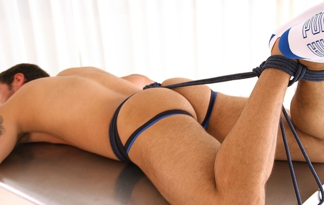 Lucky's hot ass in a jockstrap tied up