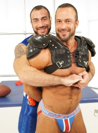 Beefy Spencer and Nate in football gear