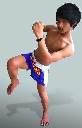 Cute young twink kickboxing