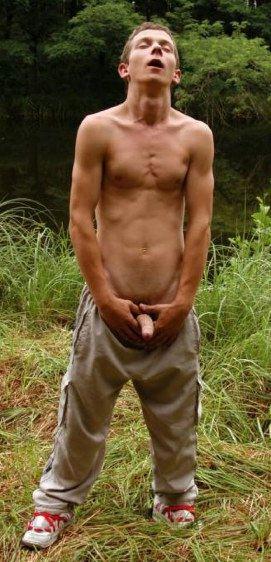 John Hoover jacks his dick in ecasty in a field