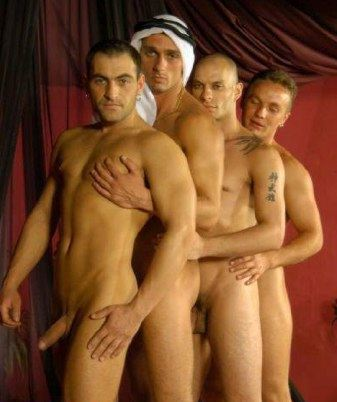 4 naked guys in a bedouin tent