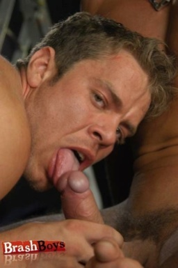 Adam Gossett sucking on Giovanni Floretto's hard cock