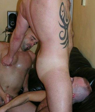 Thomas Steel blows Maxime Fuuq as Maxime plays with third stud's nipple