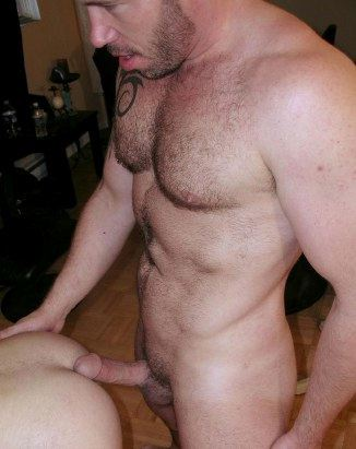Furry tattooed top teases bottom with hard dick