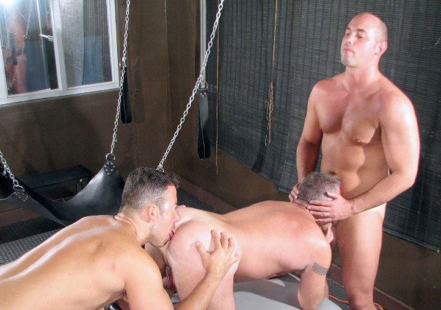 Raw jock sucks cock while getting his ass rimmed.