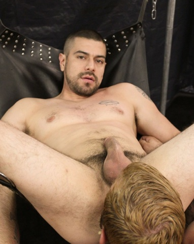 Super hot bottom stud Dominic Sol getting his ass eaten in a sling