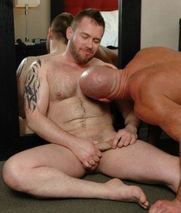 Chubby cub gets his nipple licked by a built hunk