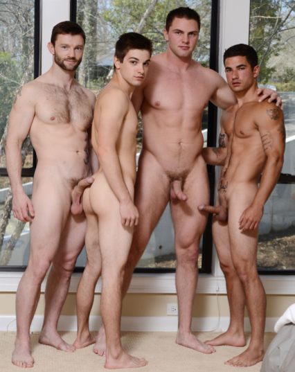 Four hot naked guys with hard cocks