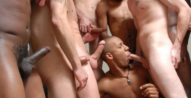 Young black twink sucking off a room of hot guys