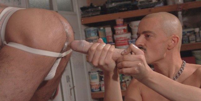 working a large dildo up a jock strap ass