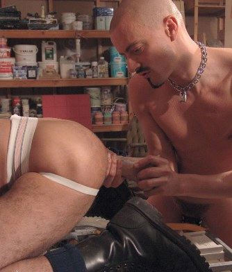 skinhead works dildo up hairy ass with jockstrap
