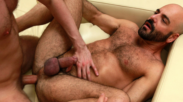 Hairy daddy Adam Russo legs in the air getting fucked bareback