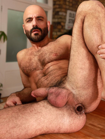 Adam Russo shows off his hairy, gaping, plugged hole