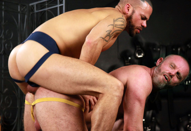 Hairy daddy on all fours getting fucked by younger, smoother top