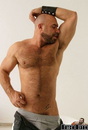 Furry sexy stud Axel Ryder showing a bit of his pubes