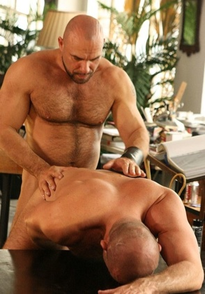 Axel Ryder stuffs his fat cock into fellow bald friend's hole.