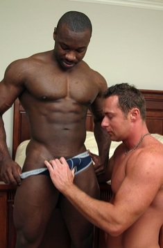 White stud pulls a black guys underwear down to show his cock