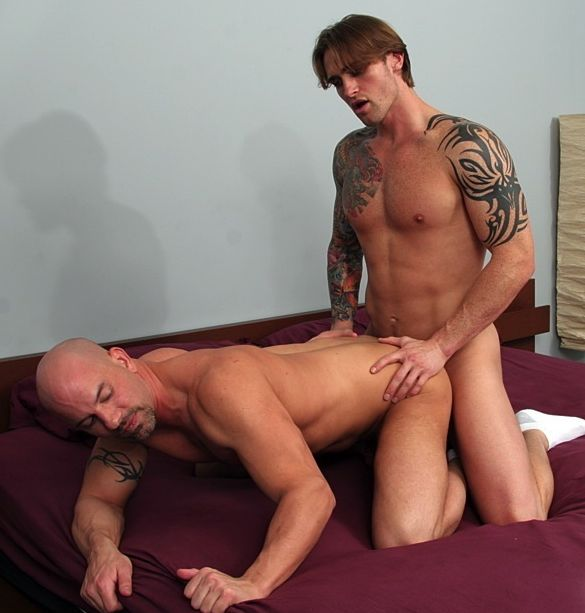 Bi dude with tats David Taylor fucking shaved head guy Brock Armstrong doggy style