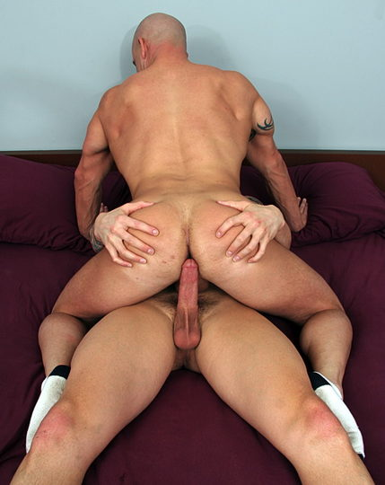 David Taylor\'s hard rod getting ready to slide in Brock Armstrong\'s butt bare