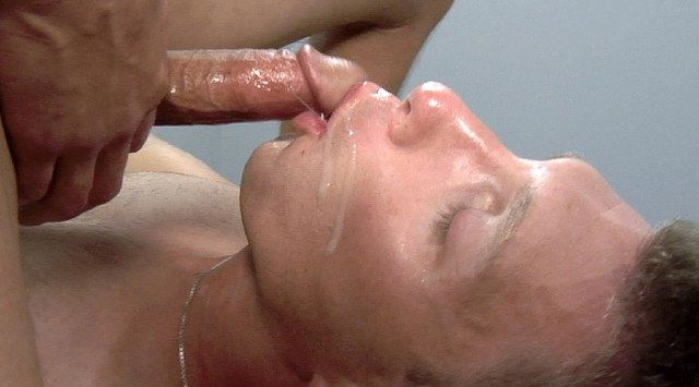 Duke Lewis gets a loat of cum in his mouth and on his face