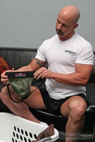 Brock Armstrong finds his green leather jock in the laundry basket