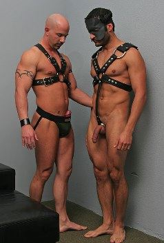 Two leathermen admire each other's bodies and cocks