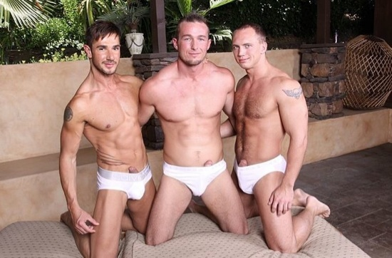 Dean Monroe, Devin Draz, and John Magnum in briefs with hard ons