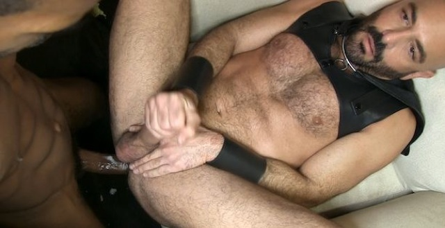 Adam Russo jacks off after taking a load from a black top