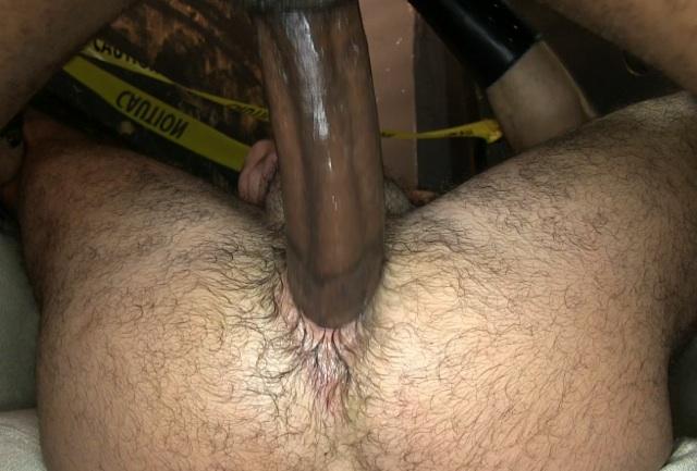 Huge black dick fucking a hairy white hole bareback