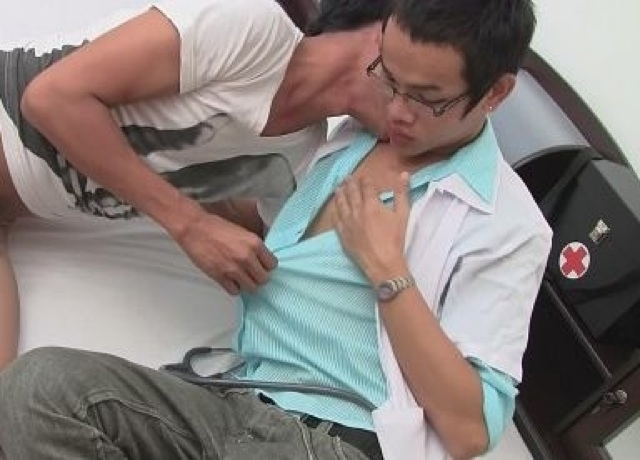 Asian twink Doctor undressed by his patient