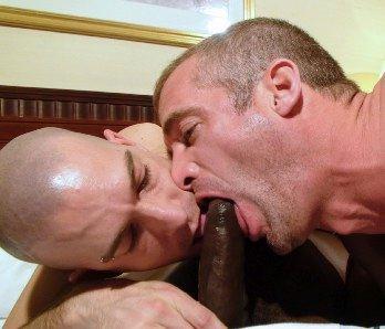 Two white guys sucking uncut balck cock