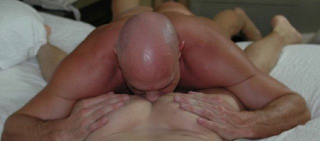 Bald fox, squeezes twinks buttuks and tongues his hole.