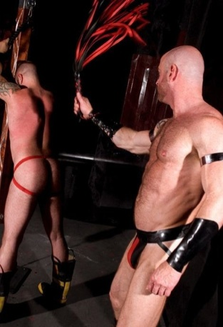 Daddy Ken flogging tied up sub boy Danny