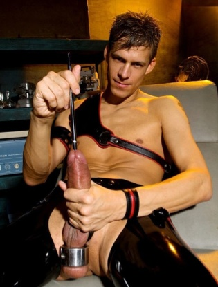 Sexy  rubber boy Sky Devil sounding his fat dick