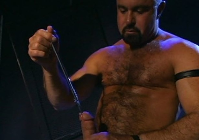 Steve Parker suffs his dick with thick sounding rod.
