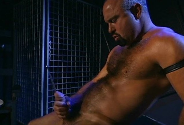 Hot daddy Steve Parker jerks his dick with sounding rod.