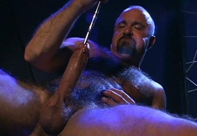 Steve Parker pumps his cock with a sounding rod