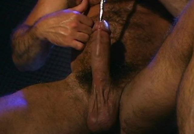 Sounding rod pushing into Steve's cock
