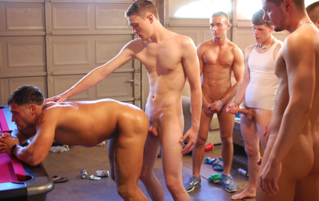 Cute young frat boy uses a hot jocks ass while other watch