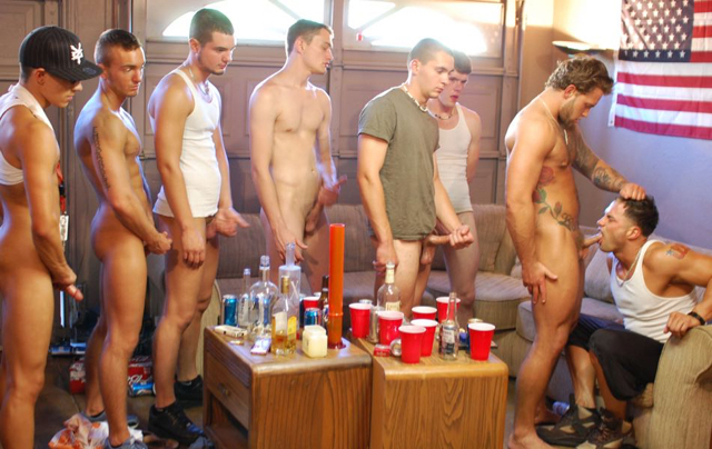 Cute jock face fucked by a group of frat boys